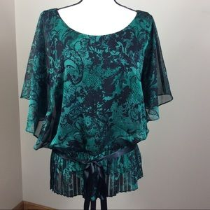 Dress Barn Collection Green & Black Blouse Sz 16